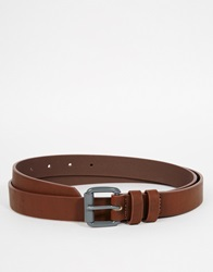 Asos Skinny Belt In Brown Faux Leather With Grey Buckle