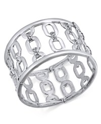 Inc International Concepts I.N.C. Silver Tone Wide Link Stretch Bracelet Created For Macy's