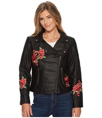 Tribal Biker Jacket With Floral Patches Black Women's Coat