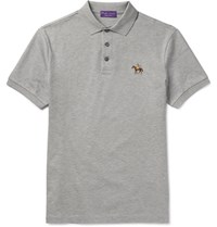 Ralph Lauren Purple Label Mercerised Cotton Pique Polo Shirt Gray