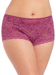 Hanky Panky Plus Size Cross Dyed Signature Lace Betty Brief Fine Wine Enchanted Rose