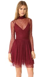 Nicholas Filigree Lace Long Sleeve Mini Dress Burgundy