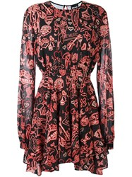 Just Cavalli Multi Print Flared Dress Black