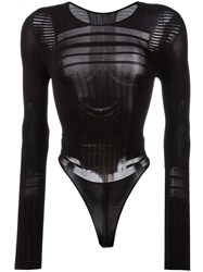 Barbara I Gongini Sheer Detail Bodysuit Black