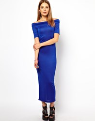 Bitching And Junkfood Off Shoulder Midi Dress Blue