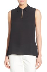Women's Vince Camuto Collared Keyhole Neck Sleeveless Blouse Rich Black