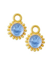 Cerulean Tiny Griffin Intaglio Earring Pendants Elizabeth Locke Blue