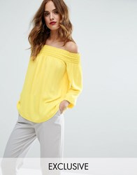 Lipsy Off Shoulder Top Yellow