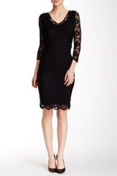 Marina 3 4 Length Sleeve Stretch Lace V Neck Dress Black