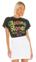 Madeworn The Rolling Stones World Tour '78 Glitter Tee In Black. Coal Pigment