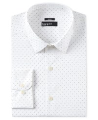 Bar Iii Men's Slim Fit Stretch White Navy Polka Dot Dress Shirt Only At Macy's