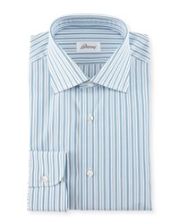 Brioni Pavone Striped Woven Dress Shirt White Blue Assorted