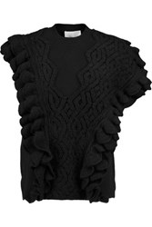3.1 Phillip Lim Ruffle Trimmed Wool Sweater Black