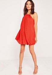 Missguided Pleated Halterneck Swing Dress Red Red