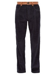 Wales Bonner Monogram Embroidered Cotton Corduroy Trousers Navy