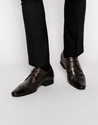 H By Hudson Leather Smart Brogue Shoes Brown