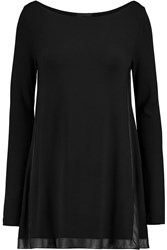 Donna Karan Leather Trimmed Stretch Jersey Top Black