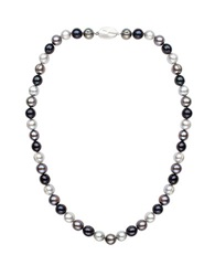 Honora Style 8Mm Multi Color Cultured Pearl And Sterling Silver Necklace 18In Black