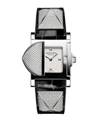 Hermes Medor Mini Watch With Diamonds And Black Alligator Strap