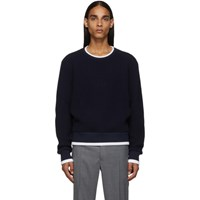Thom Browne Navy Waffle Wool Relaxed Fit Crewneck Sweater