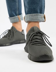 New Look Knitted Detail Trainers In Mid Grey Mid Grey