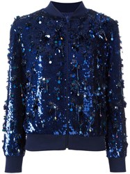 Ashish Sequin Embellished Bomber Jacket Blue