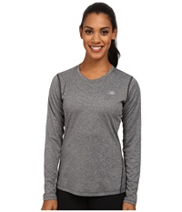 New Balance Heathered Long Sleeve Tee Black Heather Women's Long Sleeve Pullover
