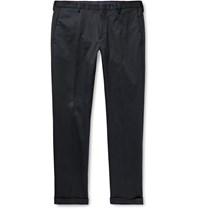 Paul Smith Slim Fit Cotton Blend Twill Trousers Blue