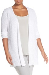 Plus Size Women's Eileen Fisher Organic Linen And Cotton Long Slim Cardigan White