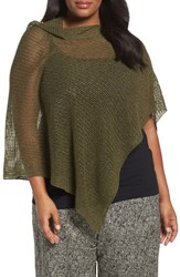 Eileen Fisher Plus Size Women's Organic Linen Mesh Knit Poncho Olive