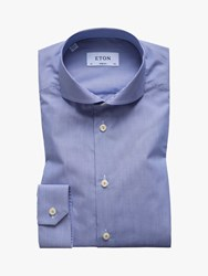 Eton Poplin Stripe Slim Fit Shirt Blue