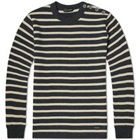 Armor Lux 2915 Fouesnant Raye Wool Striped Mariner Crew Knit Grey
