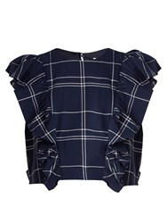 Sea Ruffled Windowpane Plaid Cotton Top Navy