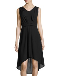 Neiman Marcus Chiffon Overlay High Low Dress Onyx