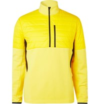 Aztech Mountain Team Quilted Panelled Stretch Tech Jersey Half Zip Sweatshirt Yellow