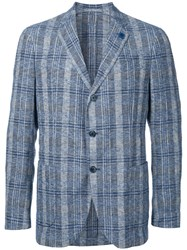 Lardini Striped Single Breasted Blazer Blue