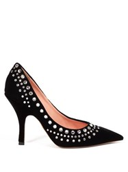 Rochas Crystal Embellished Velvet Pumps Black