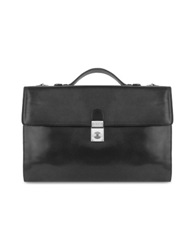 L.A.P.A. Men's Black Italian Leather Portfolio Briefcase