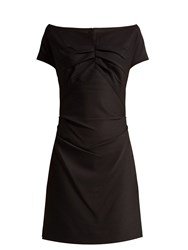 Helmut Lang Off The Shoulder Crepe Dress Black