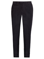 Incotex Slim Leg Cotton Blend Trousers Navy