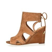 River Island Womens Tan Suede Cut Out Peep Toe Wedges