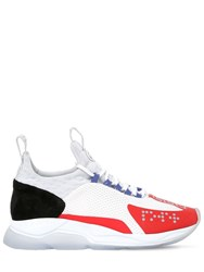 Versace Chain Prene Mesh And Suede Sneakers White Red Black