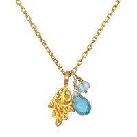 Satya Jewelry Gold Hamsa Blue Topaz And Aquamarine Necklace