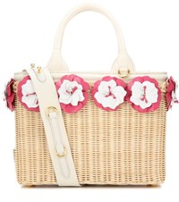 Prada Embellished Wicker Basket Beige