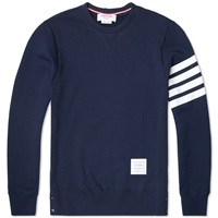 Thom Browne Button Detail Arm Stripe Sweat Navy