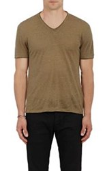 John Varvatos Linen V Neck T Shirt Green