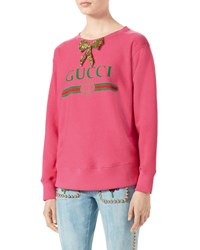 Gucci Print Sweatshirt With Crystal Bow Bright Pink