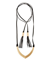Panacea Long Suede Wrap Pendant Necklace Black