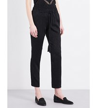 The Kooples Tassel Detail Jacquard Trousers Bla01
