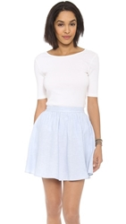 Three Dots Short Sleeve Boat Neck With V Back Gardenia